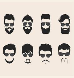 set of mustache vector image