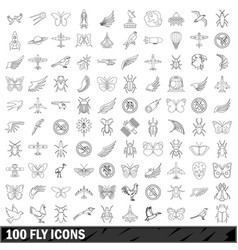 100 fly icons set outline style vector image