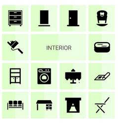 14 interior icons vector