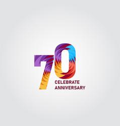 70 year anniversary elegant rainbow template vector