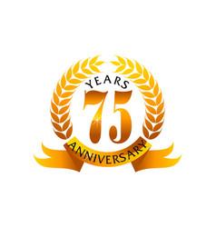 75 years ribbon anniversary vector