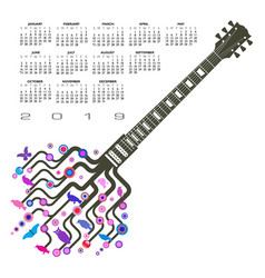 a 2019 colorful whimsical funky guitar calendar vector image