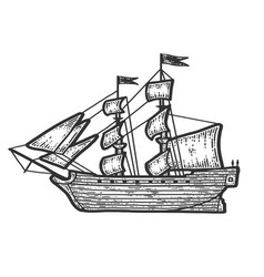 A ship with sails sketch scratch board imitation vector