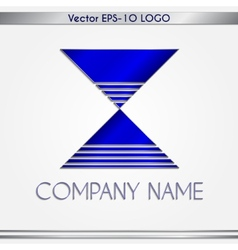 abstract blue and silver company name logo vector image