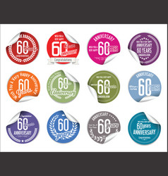 Anniversary modern tag and stickers collection 60 vector