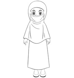 Arab muslim girl in traditional clothing standing vector