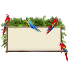 board with tropical parrots vector image