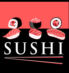 Bright poster with different sushi vector
