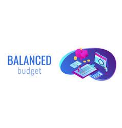 budget planning isometric 3d banner header vector image