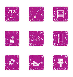 Buffoonery icons set grunge style vector