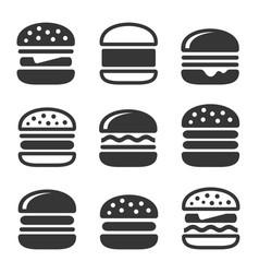 Burger icons set vector