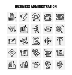 Business administration line icons set vector
