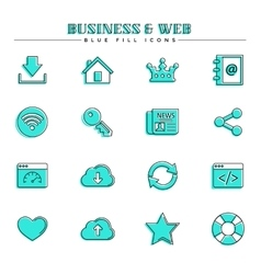 Business and web blue fill icons set vector