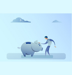 business man holding piggy bank money savings vector image