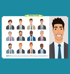 Business men flat avatars set with smiling face vector