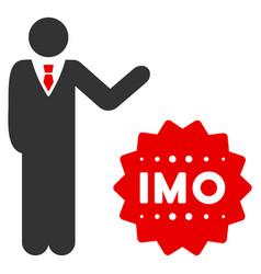 Businessman show imo token flat icon vector