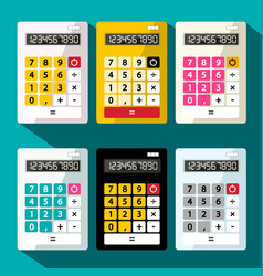 calculators set flat design calculator vector image