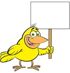 cartoon bird holding a sign vector image