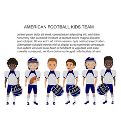 Cartoon school american footbal kids team vector