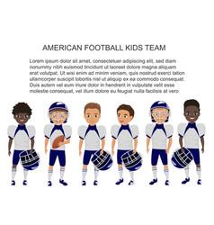 Cartoon school american football kids team vector