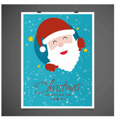 christmas card with santa clause and blue vector image