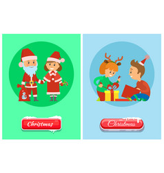 christmas holidays children opens presents vector image