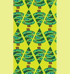 christmas trees lime green seamless pattern vector image