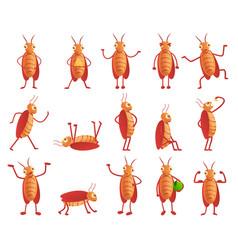 Cockroach icons set cartoon style vector