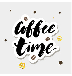 Coffee time gold lettering calligraphy phrase text vector