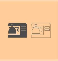 coffeemaker coffee machine dark grey set icon vector image