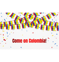 colombia garland flag with confetti on vector image