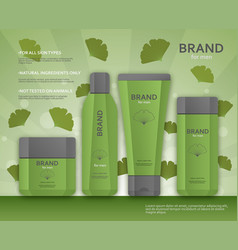 Cosmetic bottles template for men with ginkgo vector