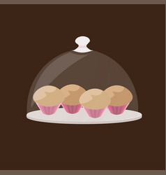 cupcake tasty muffin cake in plate sweet bakery vector image