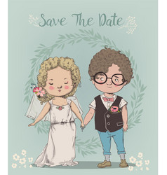 Cute little wedding couple vector