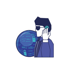 cyber security agent with planet vector image