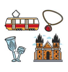 czech republic symbols transport and architecture vector image