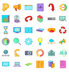 different analytics icons set cartoon style vector image