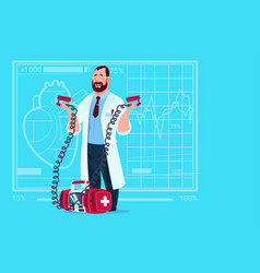 Doctor hold defibrillator medical clinics worker vector