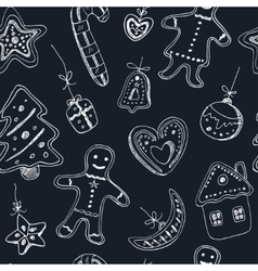 doodle christmas cookies seamless pattern vintage vector image