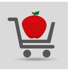 E-shopping fresh apple fruit design vector