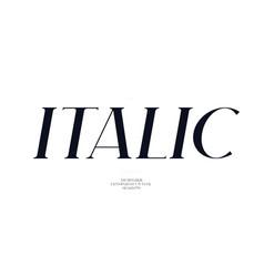 Elegant italic font sans serif style modern vector