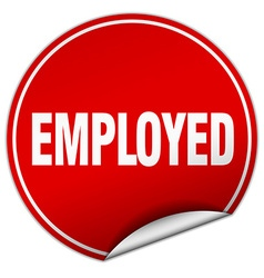 Employed round red sticker isolated on white vector