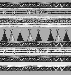 Ethnic tribal wigwam seamless pattern vector