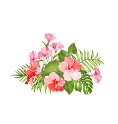 Exotic flowers bouquet of color bud garland label vector