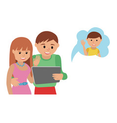 family flat style social media vector image