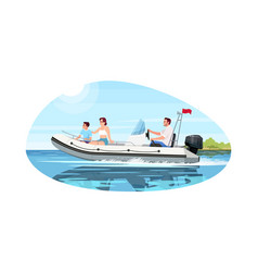 Family in speedboat semi flat vector