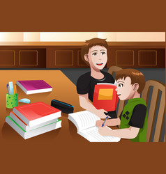 father helping his son doing homework vector image