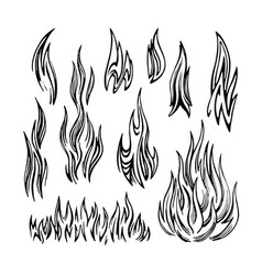 Flame fire set sketch vector