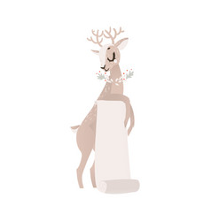 flat christmas reindeer with paper scroll vector image