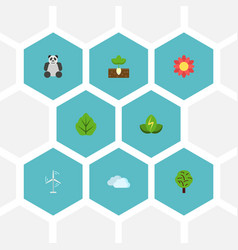 flat icons wood eco energy sky and other vector image